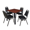 """Kee 30"""" Square Breakroom Table- Cherry/ Black & 4 Restaurant Stack Chairs- Black"""
