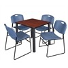 "Kee 30"" Square Breakroom Table- Cherry/ Black & 4 Zeng Stack Chairs- Blue"