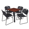 "Kee 30"" Square Breakroom Table- Cherry/ Black & 4 Zeng Stack Chairs- Black"