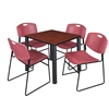 "Kee 30"" Square Breakroom Table- Cherry/ Black & 4 Zeng Stack Chairs- Burgundy"