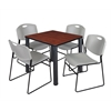 "Kee 30"" Square Breakroom Table- Cherry/ Black & 4 Zeng Stack Chairs- Grey"
