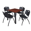 "Kee 30"" Square Breakroom Table- Cherry/ Black & 4 'M' Stack Chairs- Black"