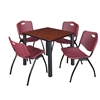 "Kee 30"" Square Breakroom Table- Cherry/ Black & 4 'M' Stack Chairs- Burgundy"