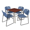 "Kee 30"" Square Breakroom Table- Cherry/ Chrome & 4 Zeng Stack Chairs- Blue"