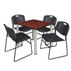 "Kee 30"" Square Breakroom Table- Cherry/ Chrome & 4 Zeng Stack Chairs- Black"