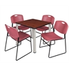 "Kee 30"" Square Breakroom Table- Cherry/ Chrome & 4 Zeng Stack Chairs- Burgundy"