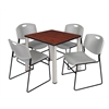 "Kee 30"" Square Breakroom Table- Cherry/ Chrome & 4 Zeng Stack Chairs- Grey"