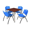 "Kee 30"" Square Breakroom Table- Cherry/ Chrome & 4 'M' Stack Chairs- Blue"