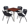 "Kee 30"" Square Breakroom Table- Cherry/ Chrome & 4 'M' Stack Chairs- Black"