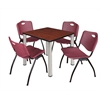 "Kee 30"" Square Breakroom Table- Cherry/ Chrome & 4 'M' Stack Chairs- Burgundy"