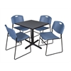 "Cain 30"" Square Breakroom Table- Grey & 4 Zeng Stack Chairs- Blue"