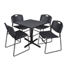 "Cain 30"" Square Breakroom Table- Grey & 4 Zeng Stack Chairs- Black"