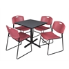 "Cain 30"" Square Breakroom Table- Grey & 4 Zeng Stack Chairs- Burgundy"