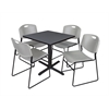 "Cain 30"" Square Breakroom Table- Grey & 4 Zeng Stack Chairs- Grey"