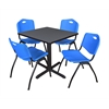 "Cain 30"" Square Breakroom Table- Grey & 4 'M' Stack Chairs- Blue"