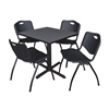 "Cain 30"" Square Breakroom Table- Grey & 4 'M' Stack Chairs- Black"