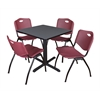 "Cain 30"" Square Breakroom Table- Grey & 4 'M' Stack Chairs- Burgundy"