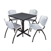 "Cain 30"" Square Breakroom Table- Grey & 4 'M' Stack Chairs- Grey"