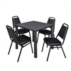 """Kee 30"""" Square Breakroom Table- Grey/ Black & 4 Restaurant Stack Chairs- Black"""