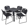 "Kee 30"" Square Breakroom Table- Grey/ Black & 4 Zeng Stack Chairs- Black"