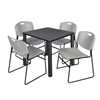 "Kee 30"" Square Breakroom Table- Grey/ Black & 4 Zeng Stack Chairs- Grey"