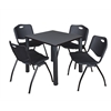 """Kee 30"""" Square Breakroom Table- Grey/ Black & 4 'M' Stack Chairs- Black"""