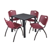 "Kee 30"" Square Breakroom Table- Grey/ Black & 4 'M' Stack Chairs- Burgundy"