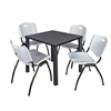 "Kee 30"" Square Breakroom Table- Grey/ Black & 4 'M' Stack Chairs- Grey"