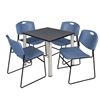 "Kee 30"" Square Breakroom Table- Grey/ Chrome & 4 Zeng Stack Chairs- Blue"