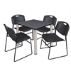 "Kee 30"" Square Breakroom Table- Grey/ Chrome & 4 Zeng Stack Chairs- Black"