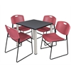 "Kee 30"" Square Breakroom Table- Grey/ Chrome & 4 Zeng Stack Chairs- Burgundy"