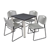 "Kee 30"" Square Breakroom Table- Grey/ Chrome & 4 Zeng Stack Chairs- Grey"