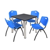 "Kee 30"" Square Breakroom Table- Grey/ Chrome & 4 'M' Stack Chairs- Blue"