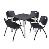 "Kee 30"" Square Breakroom Table- Grey/ Chrome & 4 'M' Stack Chairs- Black"