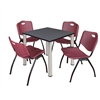 "Kee 30"" Square Breakroom Table- Grey/ Chrome & 4 'M' Stack Chairs- Burgundy"
