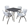 "Kee 30"" Square Breakroom Table- Grey/ Chrome & 4 'M' Stack Chairs- Grey"
