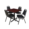 "Cain 30"" Square Breakroom Table- Mahogany & 4 Restaurant Stack Chairs- Black"
