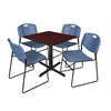 "Cain 30"" Square Breakroom Table- Mahogany & 4 Zeng Stack Chairs- Blue"