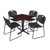 "Cain 30"" Square Breakroom Table- Mahogany & 4 Zeng Stack Chairs- Black"