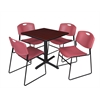 "Cain 30"" Square Breakroom Table- Mahogany & 4 Zeng Stack Chairs- Burgundy"