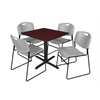 "Cain 30"" Square Breakroom Table- Mahogany & 4 Zeng Stack Chairs- Grey"