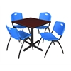 "Cain 30"" Square Breakroom Table- Mahogany & 4 'M' Stack Chairs- Blue"