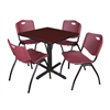 """Cain 30"""" Square Breakroom Table- Mahogany & 4 'M' Stack Chairs- Burgundy"""