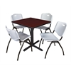 "Cain 30"" Square Breakroom Table- Mahogany & 4 'M' Stack Chairs- Grey"