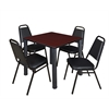 "Kee 30"" Square Breakroom Table- Mahogany/ Black & 4 Restaurant Stack Chairs- Black"