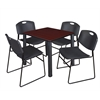 "Kee 30"" Square Breakroom Table- Mahogany/ Black & 4 Zeng Stack Chairs- Black"