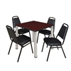 """Kee 30"""" Square Breakroom Table- Mahogany/ Chrome & 4 Restaurant Stack Chairs- Black"""
