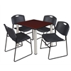 "Kee 30"" Square Breakroom Table- Mahogany/ Chrome & 4 Zeng Stack Chairs- Black"