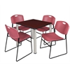 "Kee 30"" Square Breakroom Table- Mahogany/ Chrome & 4 Zeng Stack Chairs- Burgundy"