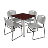 "Kee 30"" Square Breakroom Table- Mahogany/ Chrome & 4 Zeng Stack Chairs- Grey"